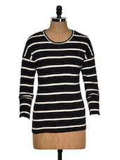 Black And White Color Stripped Round Neck T-shirt - Hypernation