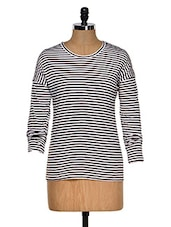 Brown And White Color Stripped Round Neck T-shirt - Hypernation