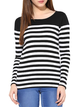 Black & white Long Sleeve Striped Tops