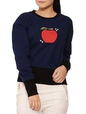 Navy Blue N Black Applique Cotton Sweatshirt - By
