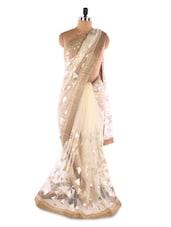 Cream Net Foil Print Heavy Border Saree - Suchi Fashion