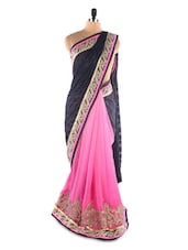 Pink , Black Net &  Brasso Heavy Embroidery Party Wear Saree - Suchi Fashion