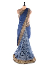Blue Satin Chiffon &  Net Brasso Heavy Border Party Wear Saree - Suchi Fashion