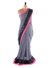 Grey &  Black Heavy Border Chiffon Designer Bollywood Replica Saree - Suchi Fashion