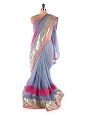 Grey &  Pink Heavy Border Chiffon Designer Bollywood Replica Saree - Suchi Fashion