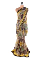 Georgette Printed Saree With Lace Border - Suchi Fashion - 966691