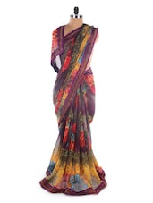 Georgette Printed Saree With Lace Border - Suchi Fashion