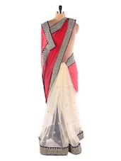 Red &  Beige Gold Heavy Embroidered Saree - Suchi Fashion