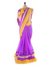 Purple &  Yellow Heavy Bordered Saree - Suchi Fashion