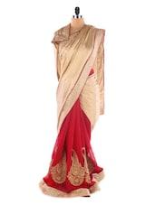Beige& Red Crepe &  Chiffon Heavy Patli Saree - Suchi Fashion