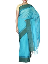 Blue Cotton Tant Saree - By