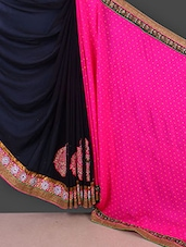 Pink And Black Embroidered Chiffon Saree - Manvaa