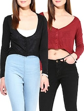 Set Of 2 Black And Maroon Viscose Cardigan Shrugs - By