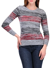 Grey Full Sleeved Round Neck Pullover - By