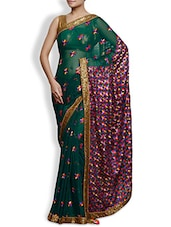 Dark Green Embroidered Phulkari Chiffon Saree - By