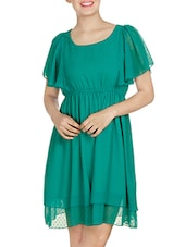 Sea Green Gathered Dress With Ruffled Sleeves - By