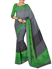 Grey Printed Bhagalpuri Silk Saree - By