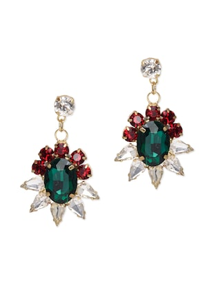 Multicolored crystal embellished drop earrings