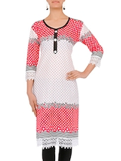 White Polka Dots Cotton Kurta With Lace Details - By