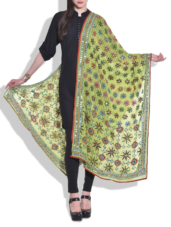 Light Green Phulkari Embroidered Dupatta - By