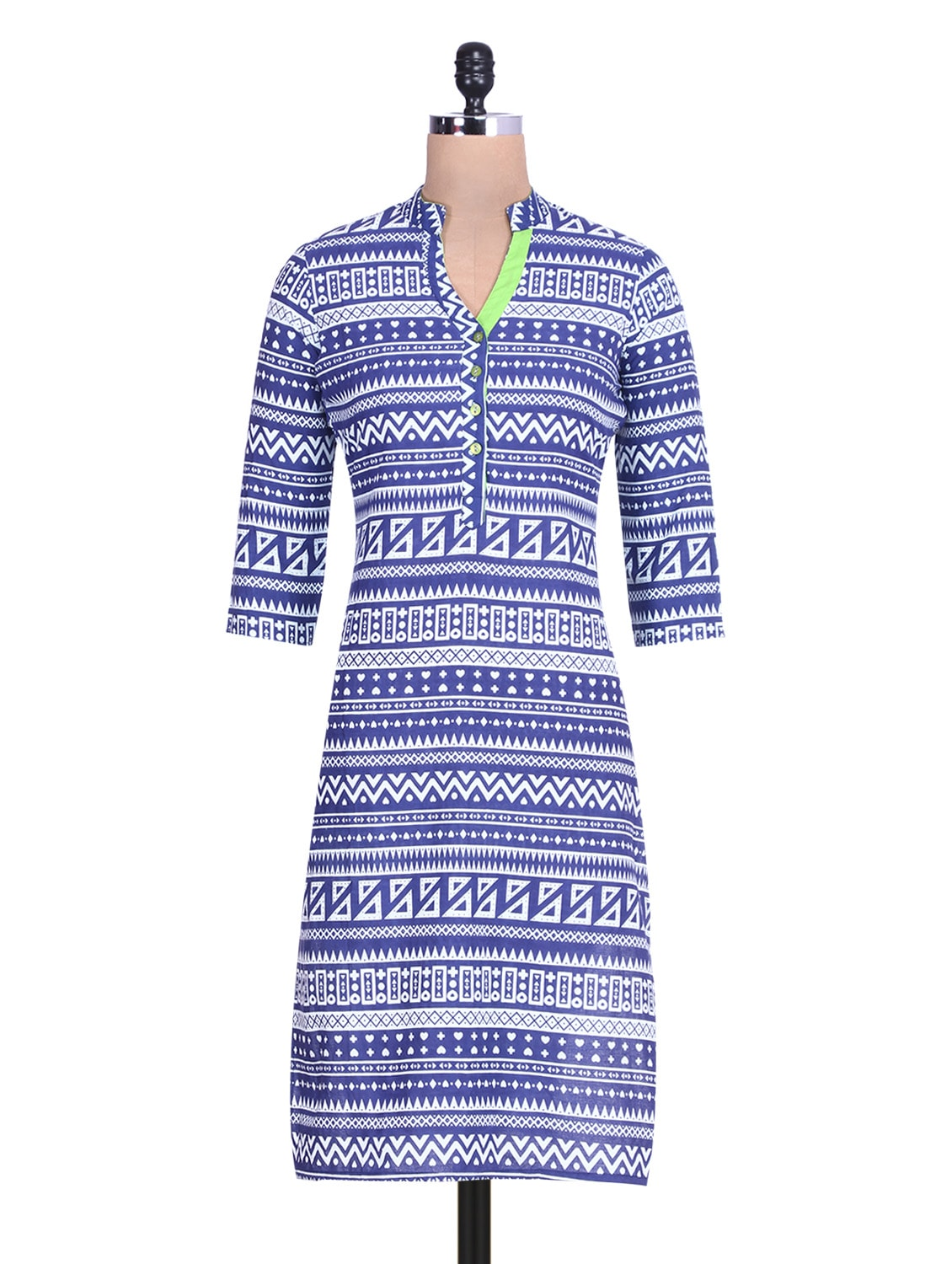 White And Blue Printed Quarter Sleeved Cotton Kurta - By