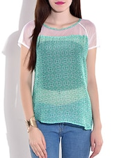 Green Printed Short Sleeved Top - By