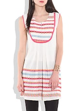 White Printed Sleeveless Cotton Dress - By