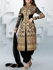 Black Color   Salwar, Kameez And Dupatta Dress Material - By