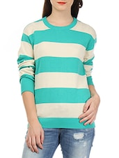 Aqua Blue And White Striped Cotton Sweater - By