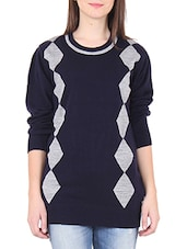 Navy Blue Geometric Designed Acrylic Long Sweater - By