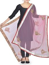 Pink Stone Embellished Net Dupatta - By