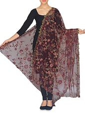 Maroon Embroidered And Embellished Net Dupatta - By