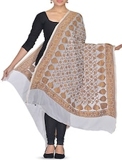 White And Gold Zari Detailed Dupatta - By