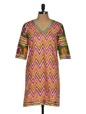 Chevron Print Kurta With A Hint Of Orange - By