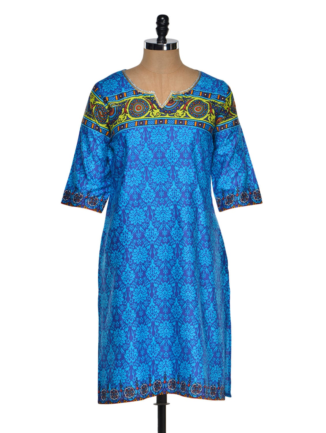 Multi Color Quarter Sleeve Geometric Print Kurta With A Hint Of Green - Chitwan Mohan