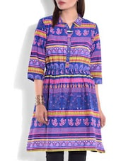 Blue And Pink Printed Cotton Kurti - By