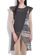 Black And White Printed Short Sleeve Kurta - By