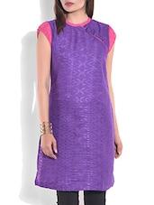 Purple Printed Short Sleeved Kurti - By
