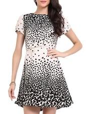 White And Black Printed Dress - Sweet Lemon
