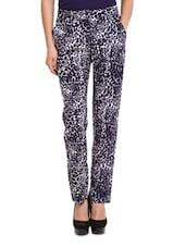 Navy Blue And White Leopard Print Pants - Sweet Lemon