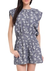 Steel Blue Printed Short Jumpsuit - Sweet Lemon
