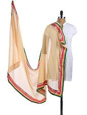 Beige Chiffon Dupatta With Multicolor Border - Dupatta Bazaar