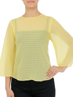 Yellow Dobby Bell Sleeves Top