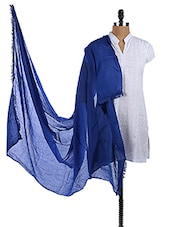 Blue Cotton Plain Dupatta - Dupatta Bazaar