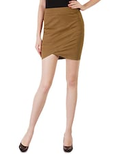 Brown Asymmetrical Cotton Lycra Skirt - By