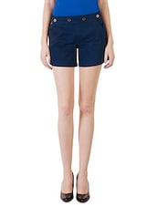 Solid Navy Blue Cotton Lycra Shorts - By