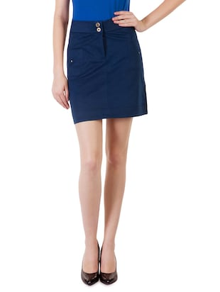 Solid navy cotton lycra knee length skirt