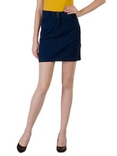 Solid Navy Cotton Lycra Knee Length Skirt - By