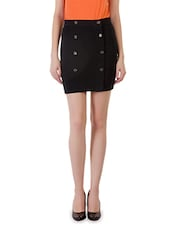 Solid Black Cotton Lycra Skirt - By