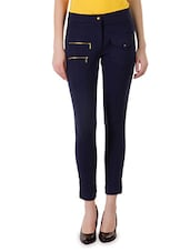 Solid Navy Blue Cotton Lycra Jeggings - By
